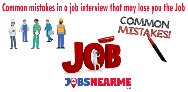 Common mistakes in a job interview that may lose you the job Jobsnearme